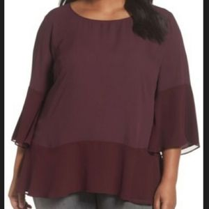 Sejour Flare Sleeve Double Layer Blouse Burgundy